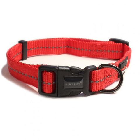 Dog's Life Red Reflective Supersoft Webbing Collar