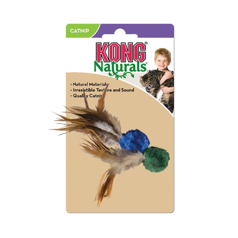 KONG Natural Crinkle Ball Plush Cat Toy with Feathers - Blue & Green