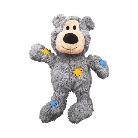 KONG Wild Knots Bear Plush  Dog Toy - Grey