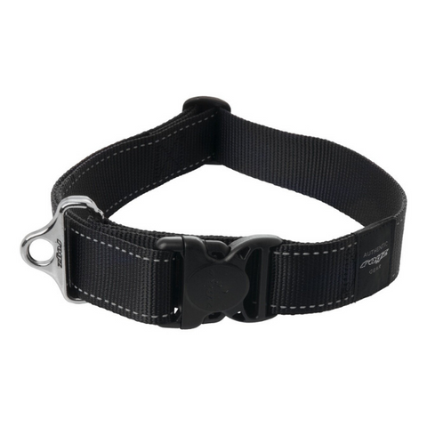 Rogz Black Reflective Utility Side Release  Dog Collar