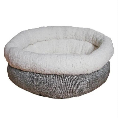 Rosewood Tweed Teddy Bear Round Dog Bed - Grey