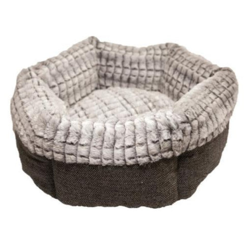 Rosewood Tweed & Plush Round Cat Bed - Brown