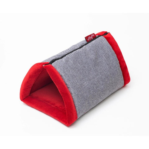 WagWorld Cuddle Cave Dog & Cat Bed - Red & Grey
