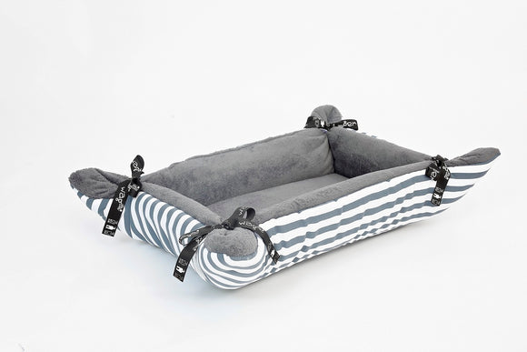 WagWorld Grey Stripes CupCake Dog Bed