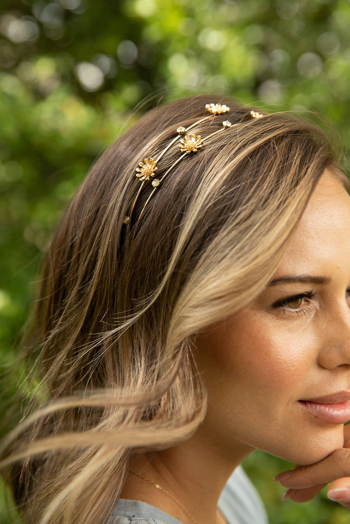 Gold Daisy & Crystal Studded Headband