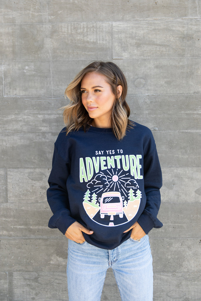 Say Yes to Adventure Navy Pullover