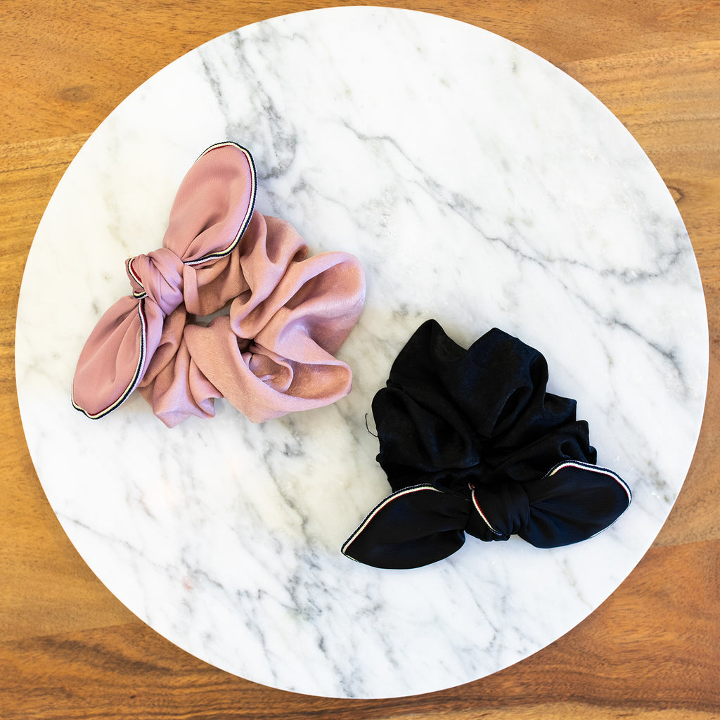 Pink Silk Wire Bow Scrunchie