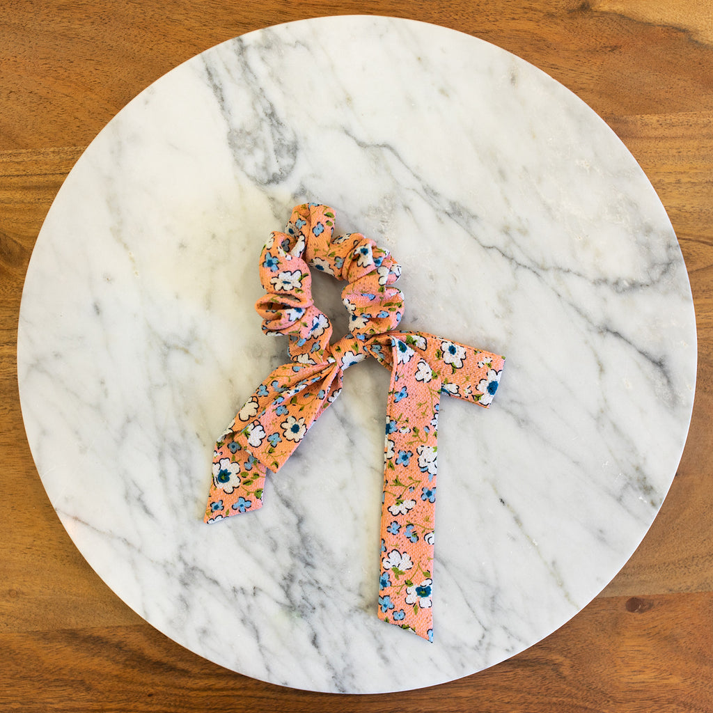 Peach Floral Bow Scrunchie
