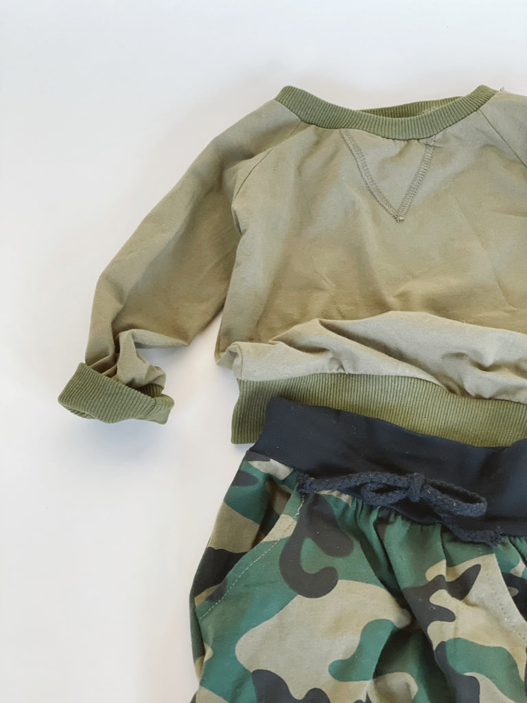 Olive Green Pullover + Camo Set