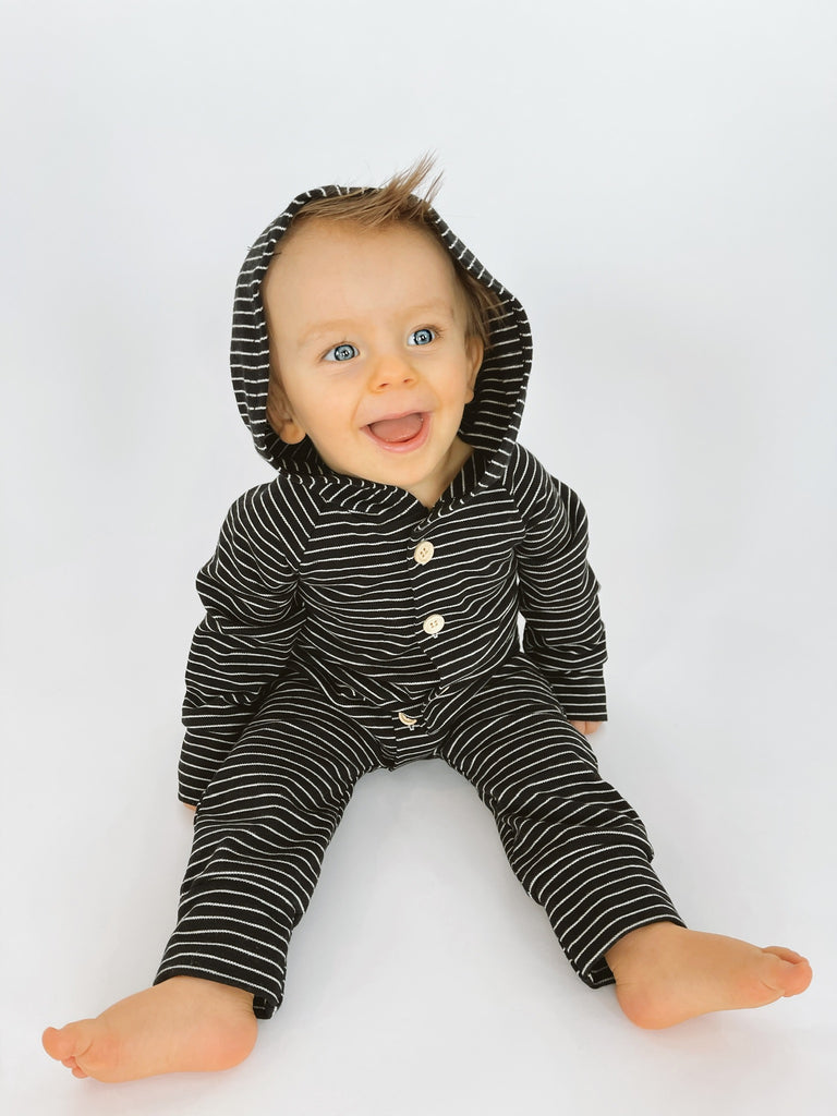Hooded Stripe Button Up Romper