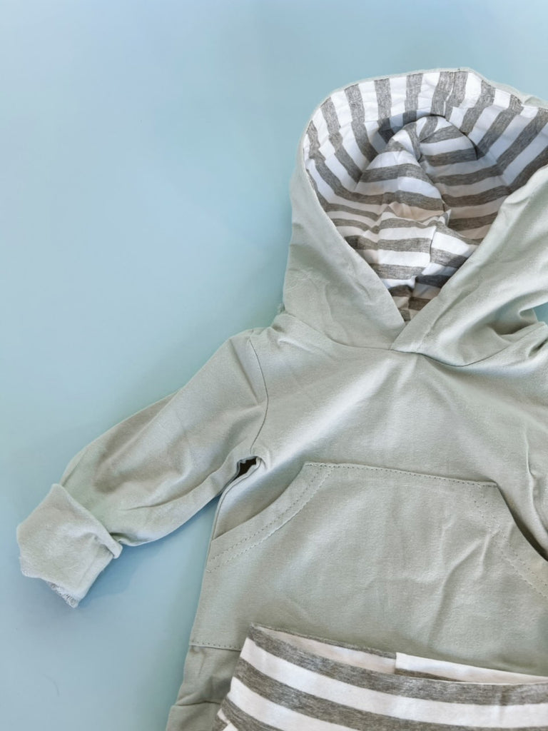 Mint Hooded Stripe Set