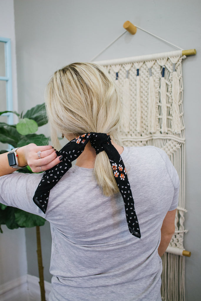 Dot & Floral Bandana in Black
