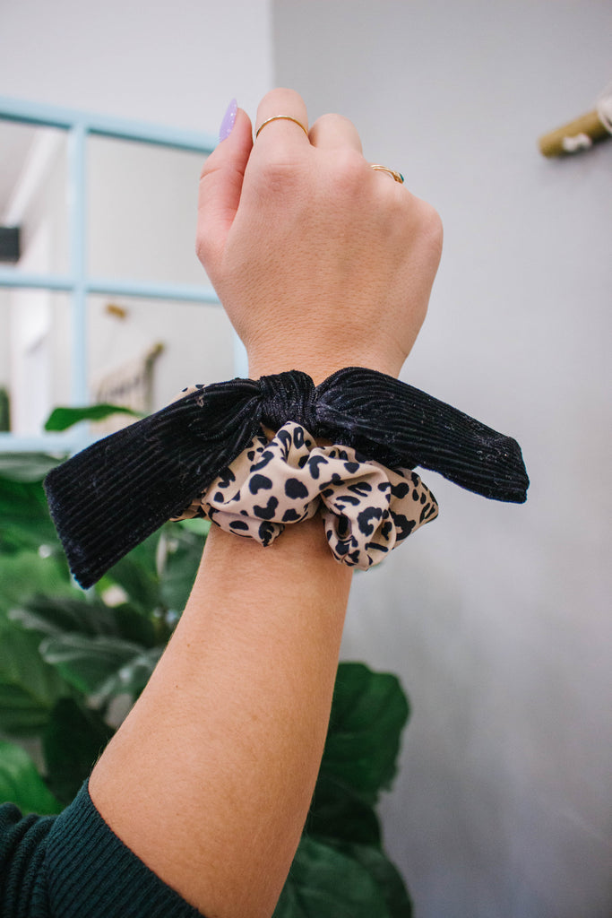Leopard & Black Velvet Scrunchie Set
