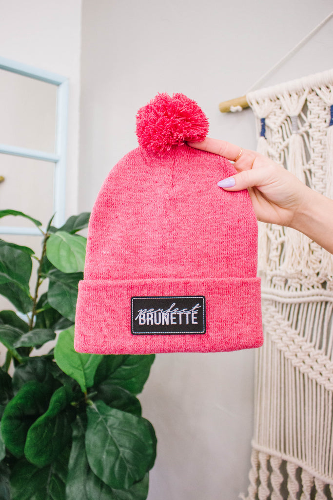 Heathered Pink Custom Patch Beanie