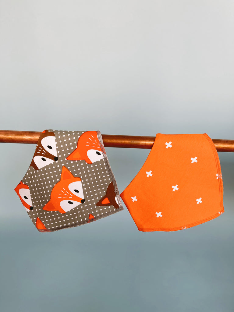 Set Of 2 Bibs - Orange + Fox