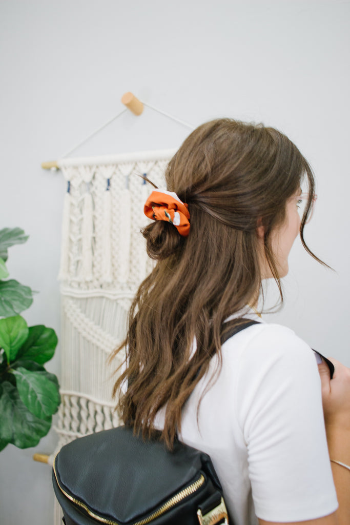 Textured Burnt Orange Floral Scrunchie