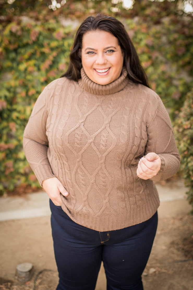 Winning the Race Cable Knit Sweater in Mocha