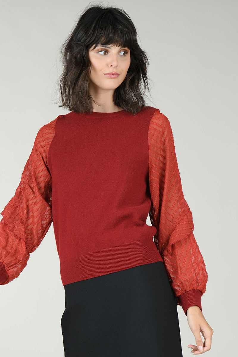 Plumetis Ruffled Knit Sweater