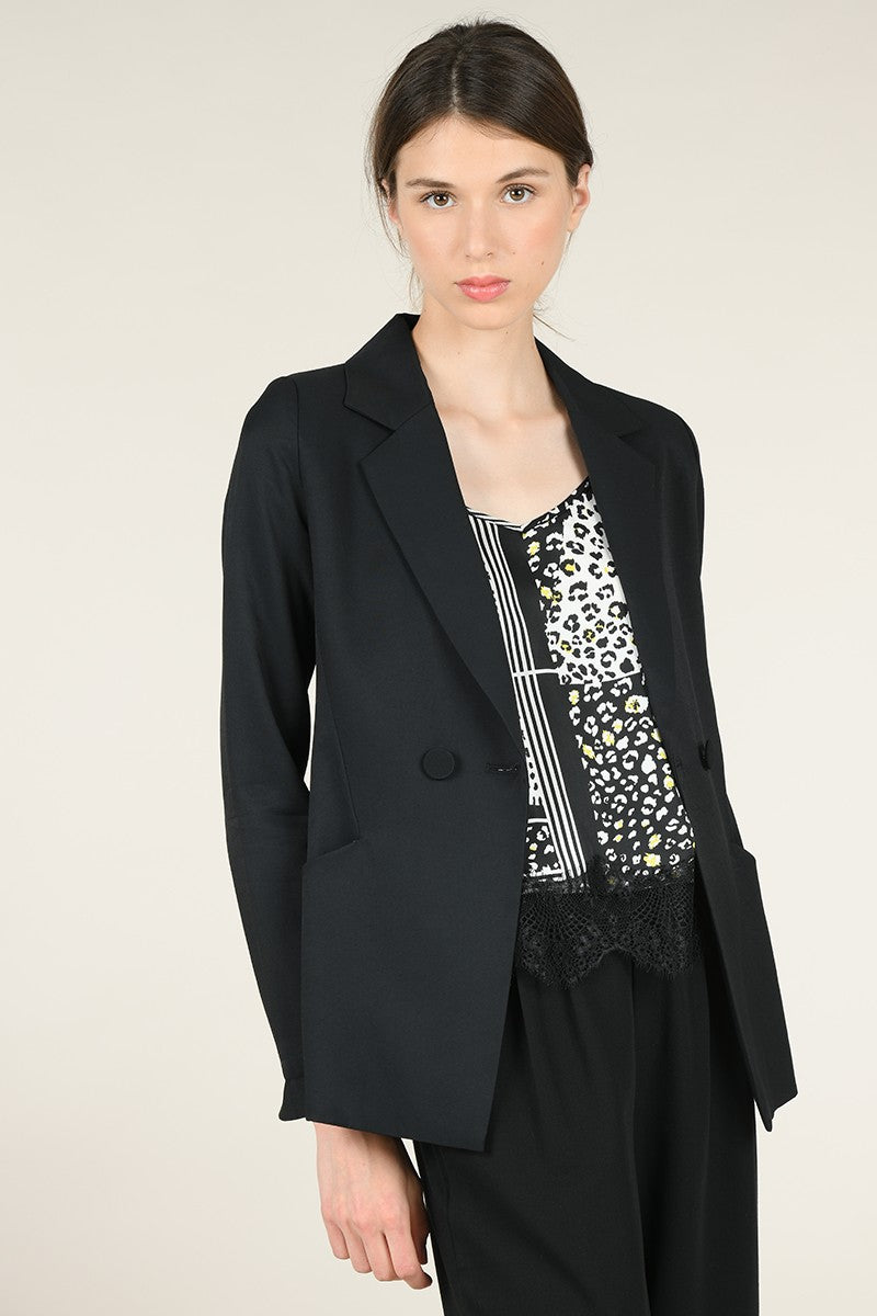Molly Bracken Brooke Notched Lapel Blazer in Black