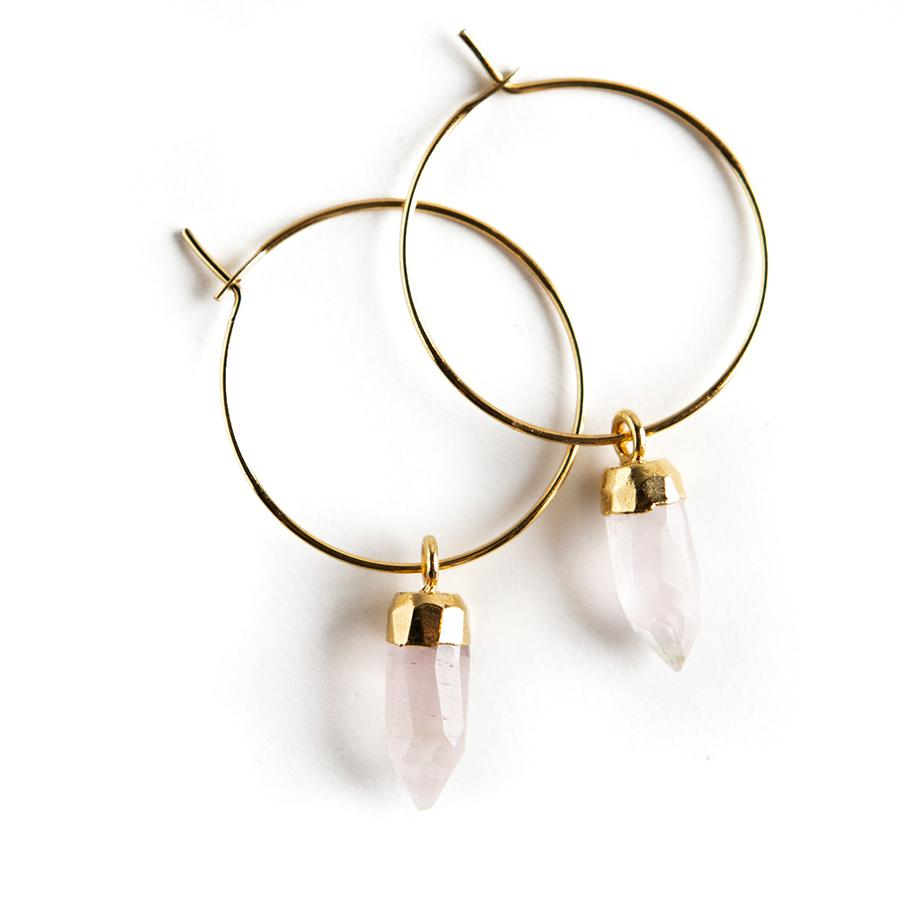 Berklee Earrings + Rose Quartz
