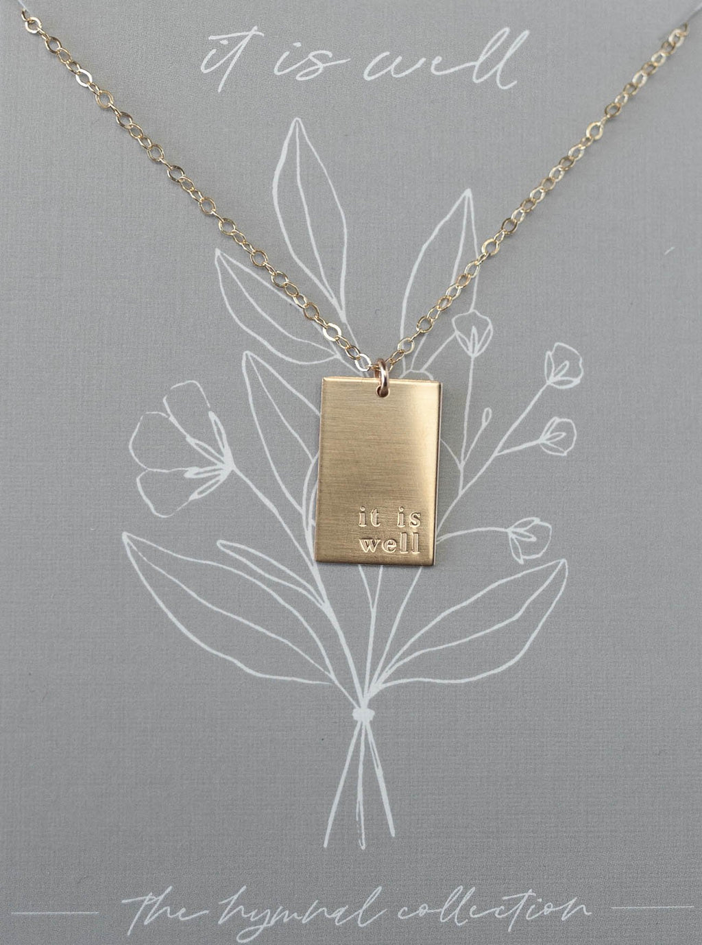 "It Is Well Hymn 18"" Gold Necklace"