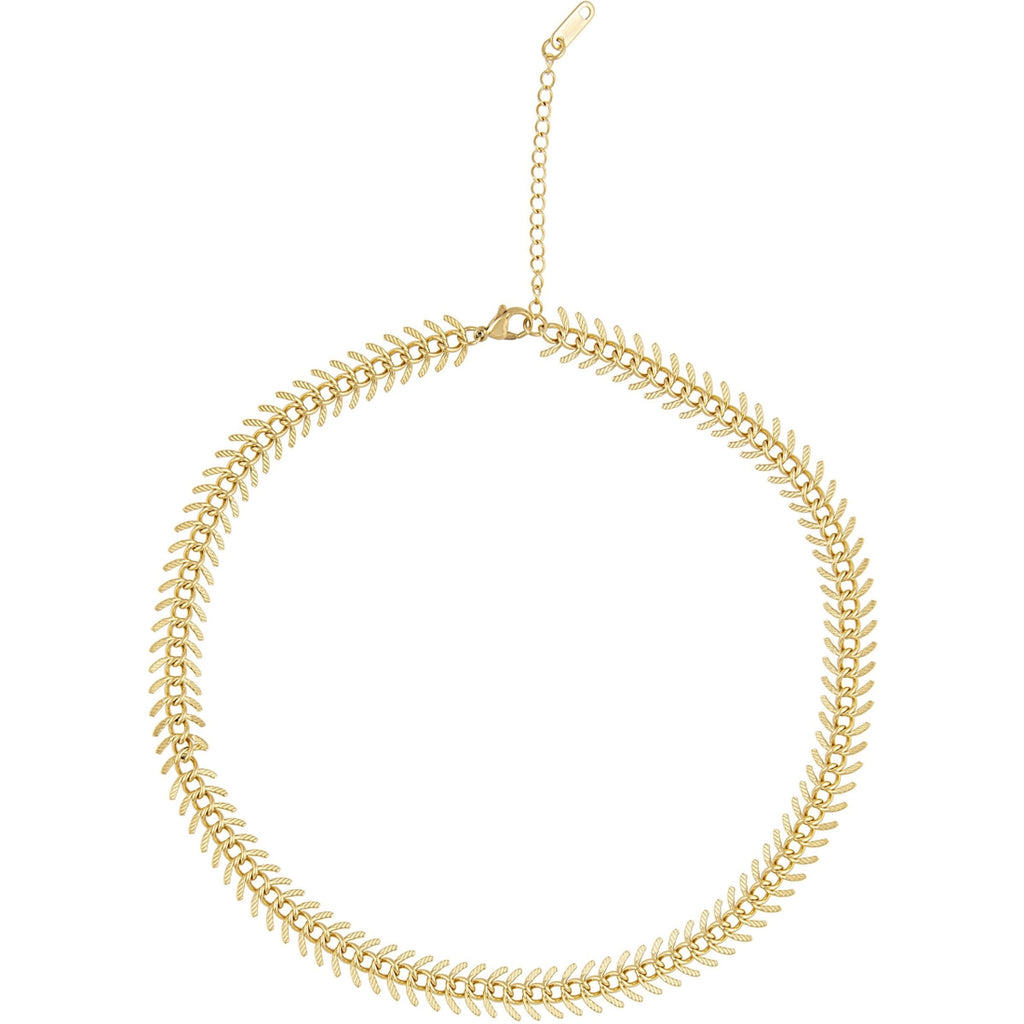 Sahira Jewelry Design Fishbone Necklace in Gold