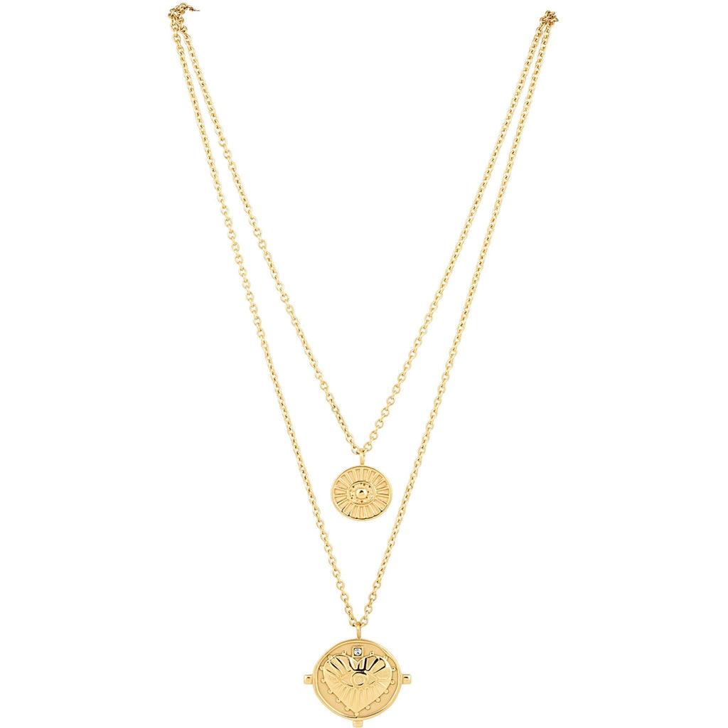 Sahira Jewelry Designs Gigi Double Coin Necklace in Gold