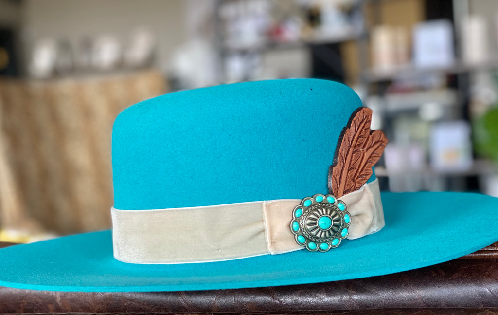 "Charlie 1 Horse ""Bohemian"" Wool Turquoise Hat"