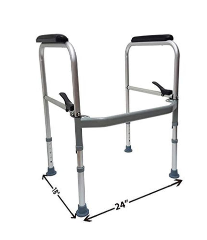Folding Toilet Safety Frame Universal Fit on Most Standard Toilets -  Toilet Handles for Elderly and Handicap
