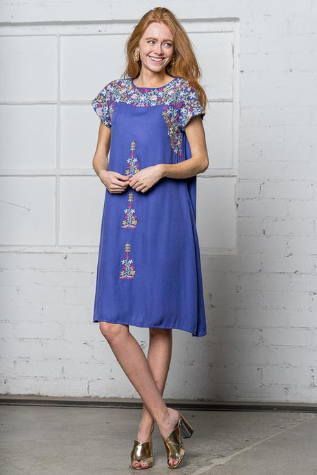 Emily Embroidered Dress | Blue