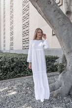 Load image into Gallery viewer, White Periwinkle Dress - ModWhite / White LDS Temple Dresses