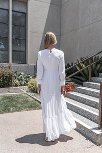 White Camellia Dress - ModWhite / White LDS Temple Dresses