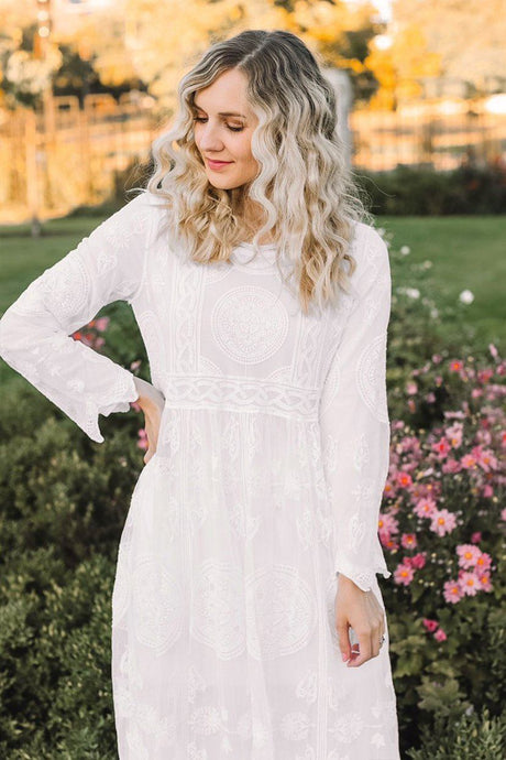 White Chrysanthemum Dress