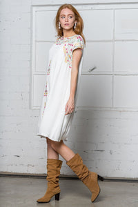 Emily Embroidered Dress | White
