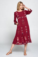 Load image into Gallery viewer, Zoe Embroidered Dress | Burgundy