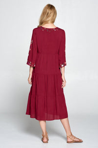 Zoe Embroidered Dress | Burgundy