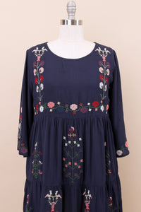 Zoe Embroidered Dress | Navy