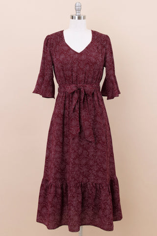 Lolita Modest Dress | Burgundy