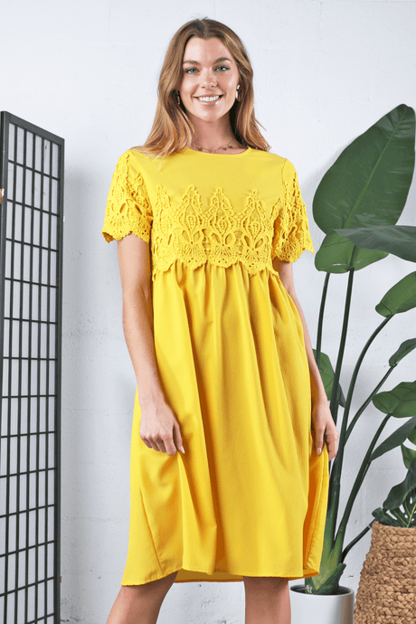 Peony Modest Dress | Yellow