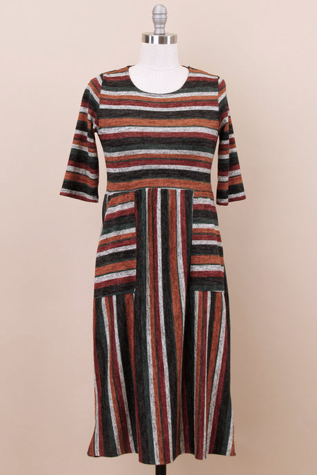 Faye Modest Dress | Rust Multi