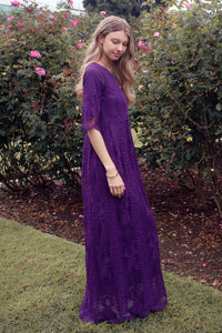 Safflower Modest Dress | Plum