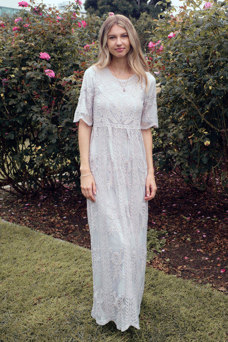 The Safflower Modest Dress | Light Grey