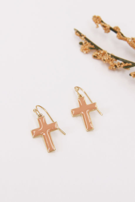 Kimmy Cross Earrings | Peach