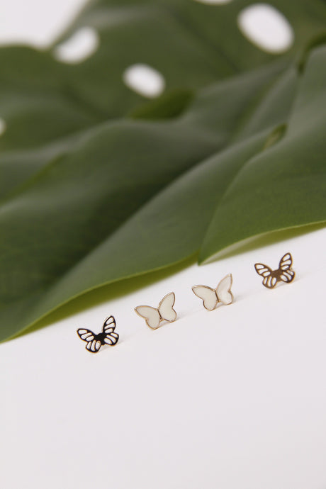 Cabbage Butterfly Earring Set