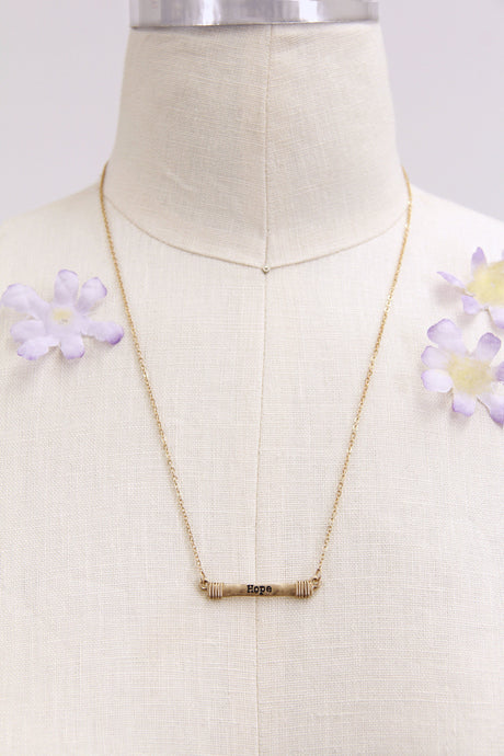 Hope Bar Necklace | Gold