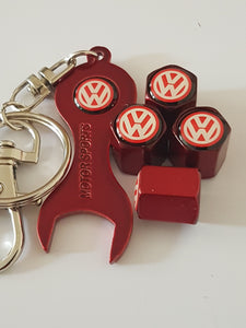 VW VOLKSWAGEN VALVE CAPS HEXI STYLE 3 COLOURS for ALL models Metal caps with Keychain/Spanner Lovely Item Retail Packed Ideal Gift