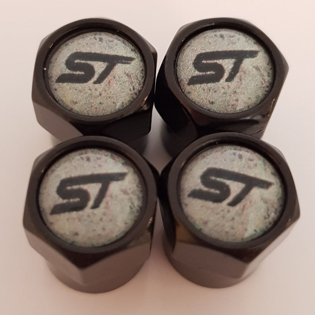 FORD ST Graffiti NON STICK PLASTIC VALVE CAPS HEXI STYLE 12MM 7 COLOURS KUGA FOCUS FIESTA