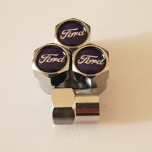 Load image into Gallery viewer, FORD NON STICK PLASTIC VALVE CAPS HEXI STYLE 12MM 7 COLOURS KUGA FOCUS FIESTA all models
