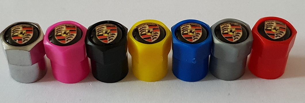 PORSCHE NON STICK PLASTIC VALVE CAPS HEXI STYLE 12MM 7 COLOURS