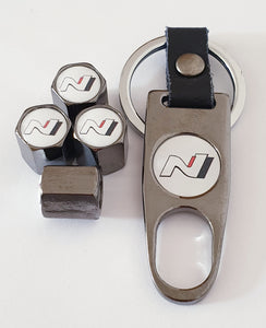 HYUNDAI N logo VALVE CAPS HEXI STYLE 12MM 9 COLOURS for ALL models boxed item with Spanner/Keychain